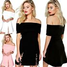 Women Solid Sexy Off Shoulder Bandeau Strip Short Skater Dress Beach Sundress