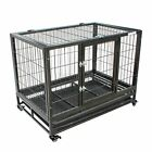 FoxHunter Heavy Duty Pet Dog Puppy Training Cage Crate Enclosure Metal Wheeled