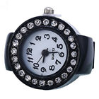 Popular Women Girl Silicon Round Rhinestone Elastic Quartz Finger Ring Watch