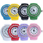 Popular Women Girl Silicon Round Rhinestone Elastic Quartz Finger Ring Watch image