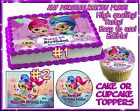 Shimmer and Shine Birthday Cake topper Edible sugar cupcakes picture paper sheet