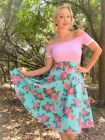50s Style Lt. AQUA with PINK Roses FLORAL Print High Waist FULL PINUP Skirt