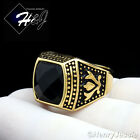 MEN's Stainless Steel Gold Black Onyx Vintage Ring Size 8-13*GR89