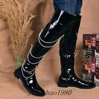 Stylish Men's Knee High Boots Faux Leather Punk Chain Zipper Military boot New