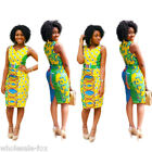New Women's Sleeveless Traditional African Print Evenning Party Bodycon Dress