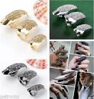 3 size Crystal Rhinestone Pave Long Cat woman Claw Ring Nail Talon Catwoman Punk