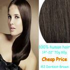 "14""-22"" Clip In 100% Remy Real Human Hair Extension 2# Dark Brown Straight Hair"