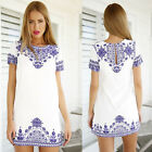 Womens Sexy Summer Porcelain Evening Party Cocktail Short Mini Dress Long Tops