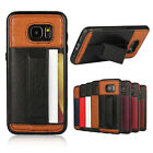 Slim hybrid TPU & Leather stand Case with card holder for Samsung S7 / S7 EDGE