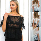 Women Casual Short Sleeve Tops See Throu Blouse Ladies Lace Sexy T Shirt Black