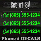 "Your PHONE NUMBER Set of 3 YLLGR Decal Stickers Size: 24""x3"" Call! *6YearDurable"