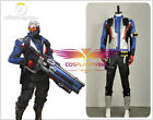 Over Watch Cosplay Soldier 76 Costume Jacket Synthetic Leather Coat Full Costume