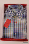 KITON NAPOLI Hand Made Blue Plaid Cotton Button Down Shirt NEW