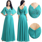 Plus Formal Long Mother of the Bride Dress Wedding Party Prom Gown Short Sleeves