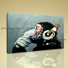 Large Framed Abstract Print Canvas Wall Art Monkey Headphone Modern Home Decor