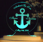 Personalized Anchor Nautical Theme Wedding Cake Topper Optional LED Light Base