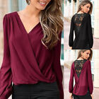 Plus Size Summer Womens Casual T-Shirt Long Sleeve Top Chiffon Lace Blouse Tops