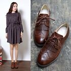 Vintage Womens Retro Casual Brogue Lace Up Oxfords Tassels Flats Round Toe Shoes