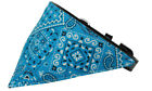 Turquoise Western Bandana Pet Dog Collar - Black or White Collar