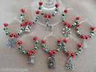 Christmas Wine Glass Charms/ Napkin Rings Set of 6 8 10 or 12 Red & Green