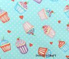 CUPCAKE FABRIC BLUE 100% cotton per fat 1/4, half metre or full metre