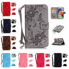 For Samsung Galaxy S5 SV i9600 Jewel Flower Leather Card Wallet Case Strap Cover
