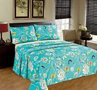 Tache 2-3 PC Butterfly Wonderland Aqua Blue Floral Colorful Flat Sheet Only image