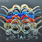 1 Pair Ear Tunnels Spiral Hand Made Pyrex Glass Earring Tapers Plugs Right&Left
