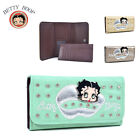 New Fashion Betty Boop® Lip Rhinestone Checkbook Women Leather Purse Wallet Bag $12.49 USD