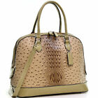 Dasein® Ostrich Faux Leather Dome Satchel with Patent Trim