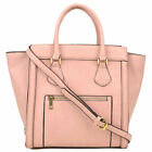 Dasein Womens Handbags Leather Satchels Tote Bag Shoulder Bags Winged Purse image
