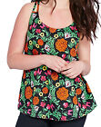 SimplyBe BLACK / FLORAL Double Strap Folk Print Camisole Top PLUS SIZES 14 to 30