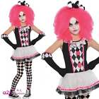 Girls Circus Sweetie Cute Kids Halloween Clown Jester Doll Fancy Dress Costume