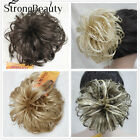 Women Dark Brown blonde mix Hair Synthetic Chignon Bun Ponytails Hair Extension