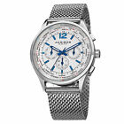 Men's Akribos XXIV AK716 Multifunction Day Date Stainless Steel Mesh WatchWristwatches - 31387