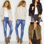 New Womens Ladies Suede Bomber Jacket Celeb Party Vintage Biker Zip Up Coat Size