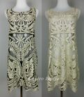 Lace Crochet Gold Embroidered Hippie Boho Vintage Cocktail Flapper Wedding Dress