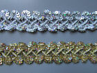 Silver / Gold Sequin Braid Trim 2.6cm  X 1 Metre Sewing/Crafts/Costume/Corsetry
