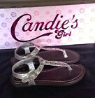 New Candies Girl Cakhloe Metallic Silver T Strap Sandals With Stud Detail 12 3