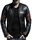 Leather Jacket For Men's Long-Sleeves Slim Fit Solid Jacket Red strip .AB211