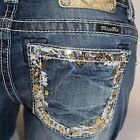 Miss Me Gold Thread Border Signature Boot Cut Lowrise Stretch Jeans JP8715B NEW!