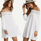 New Ladies Women Off The Shoulder Loose Casual Sexy Shirt Dress Tops Mini Dress
