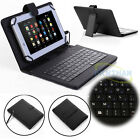 "For 7""-8"" Android Tablet Universal USB Micro Keyboard Flip PU Leather Case Cover"