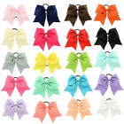 "8"" Cheer Bows  Cheerleading Ribbon Bows Grosgrain Tie Elastic Band Baby Girl"