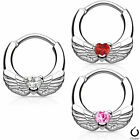 Clicker Heart Wing Body Jewelry 16G & 14G cartilage,nipple septum