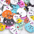 New 10/50/100pc Mix 2 Holes Cat Animal  Wood Buttons Sewing Mix Lots W345