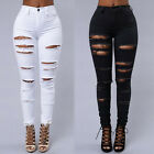 Womens Ladies Sexy High Waist Ripped Skinny Jeans Black Stretch Denim Size S-XL