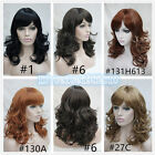 Women's Black/light Brown Mix Side Bang Layered Long Wavy Curly Hair Wig
