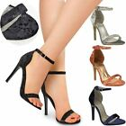 Womens Ladies Barely There High Heel Party Velvet Sandals Ankle Strappy Shoes