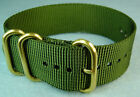 ZULU 3 RING NYLON GOLD HARDWARE MILITARY DIVER'S WATCH BAND/STRAP 20mm/22mm/24mm